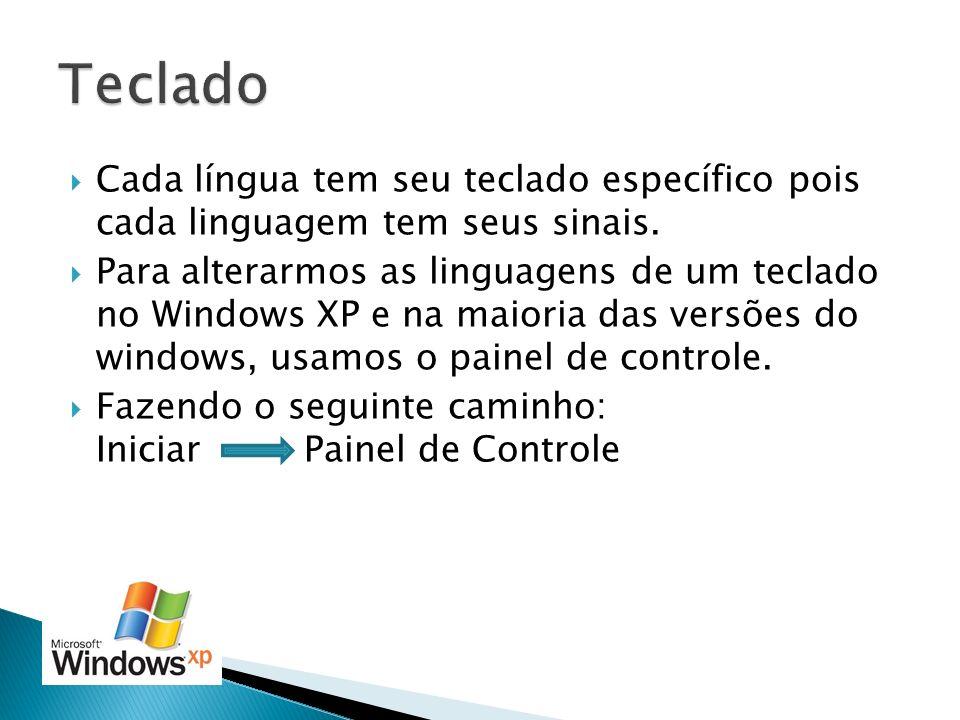 Teclado Cada língua tem seu teclado específico pois cada linguagem tem seus sinais.