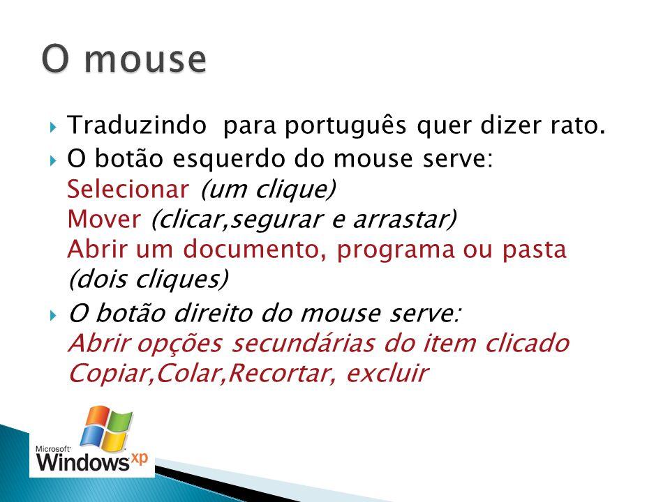 O mouse Traduzindo para português quer dizer rato.
