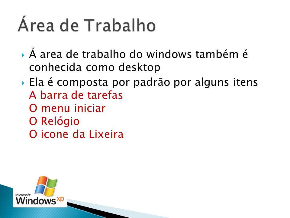 Área de Trabalho Á area de trabalho do windows também é conhecida como desktop.