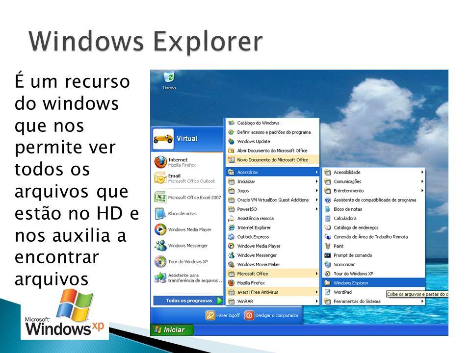 Windows Explorer É um recurso do windows que nos permite ver todos os arquivos que estão no HD e nos auxilia a encontrar arquivos.