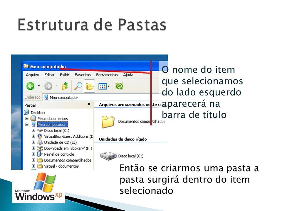 Estrutura de Pastas O nome do item que selecionamos do lado esquerdo aparecerá na barra de título.