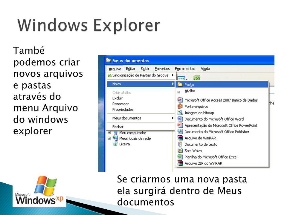 Windows Explorer També podemos criar novos arquivos e pastas através do menu Arquivo do windows explorer.