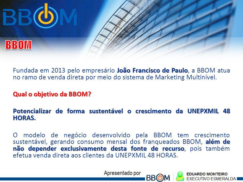 BBOM Fundada em 2013 pelo empresário João Francisco de Paulo, a BBOM atua no ramo de venda direta por meio do sistema de Marketing Multinível.