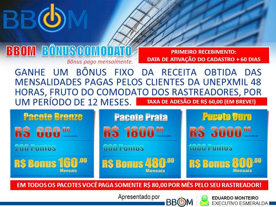 BBOM BÔNUS COMODATO PRIMEIRO RECEBIMENTO: DATA DE ATIVAÇÃO DO CADASTRO + 60 DIAS. Bônus pago mensalmente.