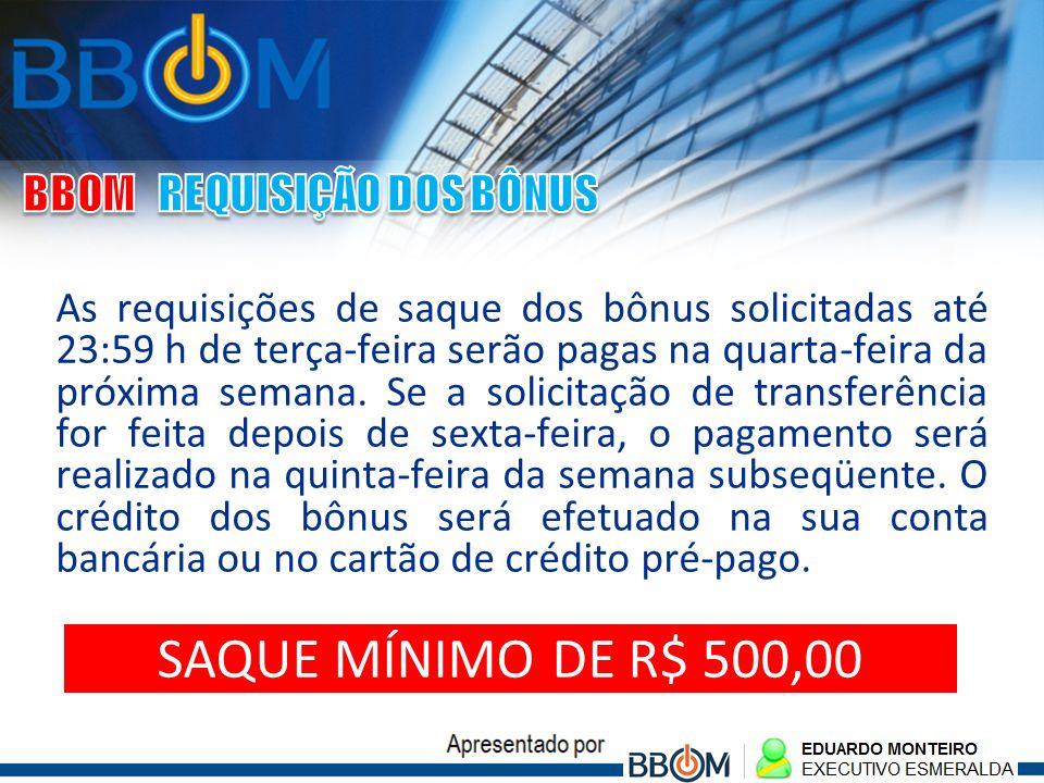 SAQUE MÍNIMO DE R$ 500,00 BBOM REQUISIÇÃO DOS BÔNUS