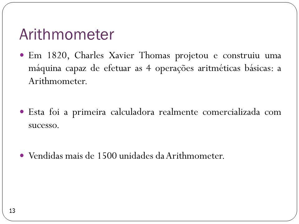Arithmometer Em 1820, Charles Xavier Thomas projetou e construiu uma máquina capaz de efetuar as 4 operações aritméticas básicas: a Arithmometer.