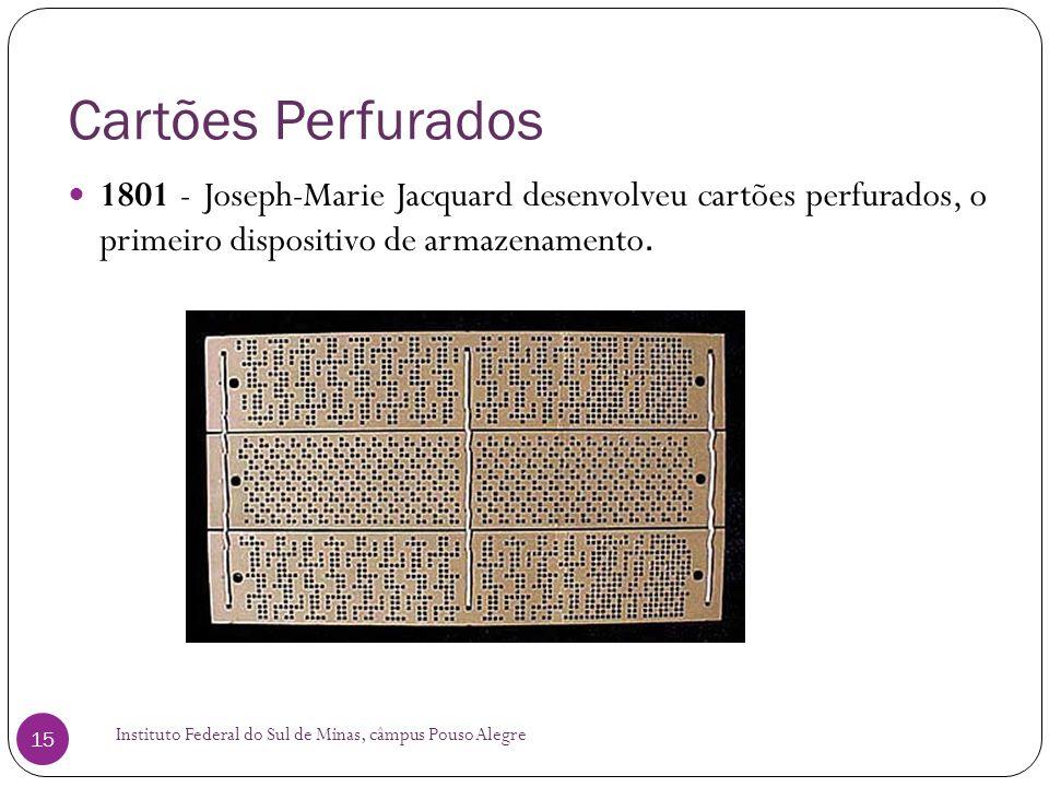 Cartões Perfurados 1801 - Joseph-Marie Jacquard desenvolveu cartões perfurados, o primeiro dispositivo de armazenamento.