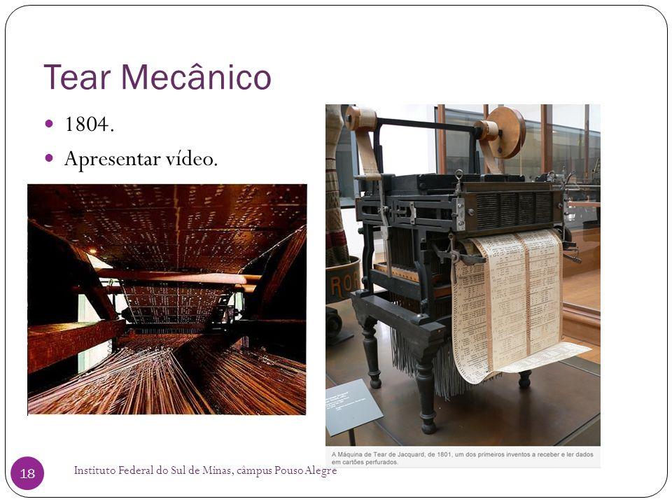 Tear Mecânico 1804. Apresentar vídeo.