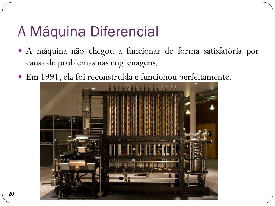 A Máquina Diferencial A máquina não chegou a funcionar de forma satisfatória por causa de problemas nas engrenagens.