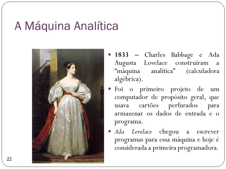 A Máquina Analítica 1833 – Charles Babbage e Ada Augusta Lovelace construíram a máquina analítica (calculadora algébrica).