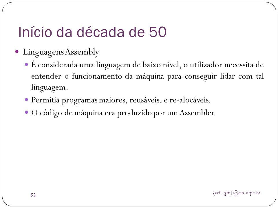 Início da década de 50 Linguagens Assembly