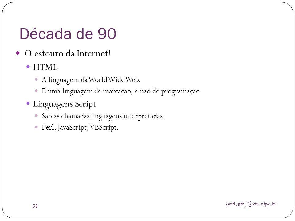 Década de 90 O estouro da Internet! HTML Linguagens Script