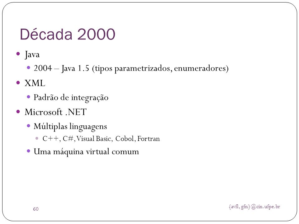 Década 2000 Java XML Microsoft .NET