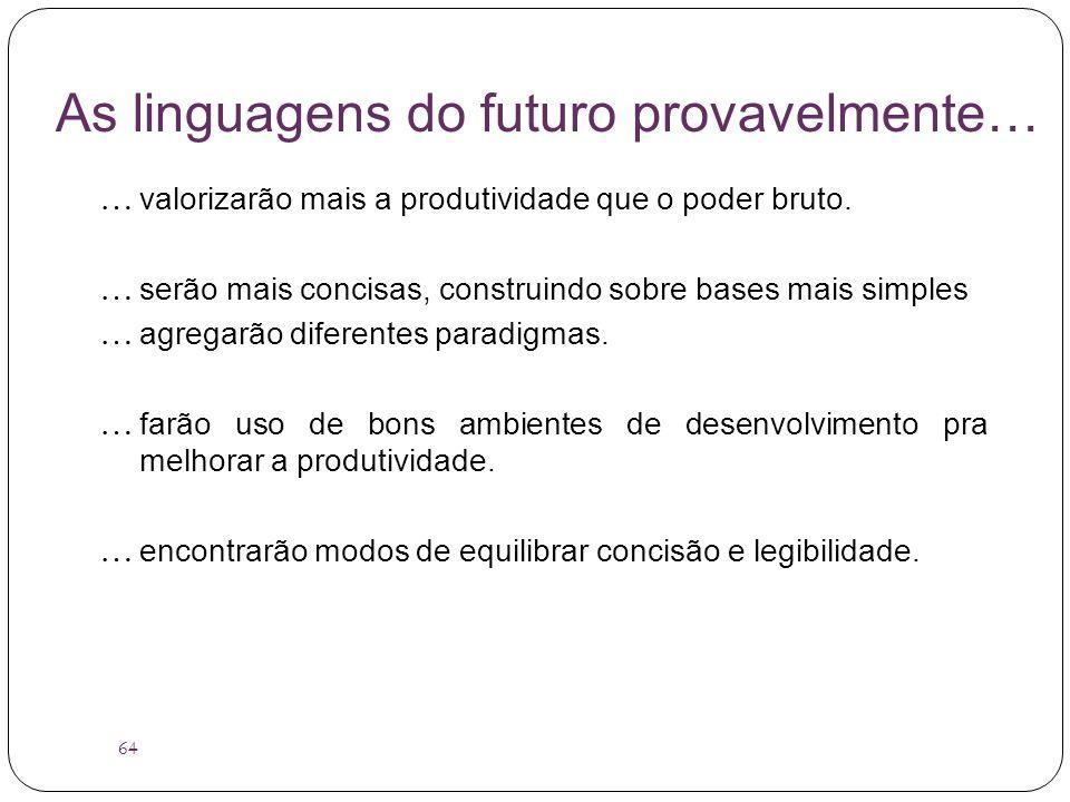 As linguagens do futuro provavelmente…