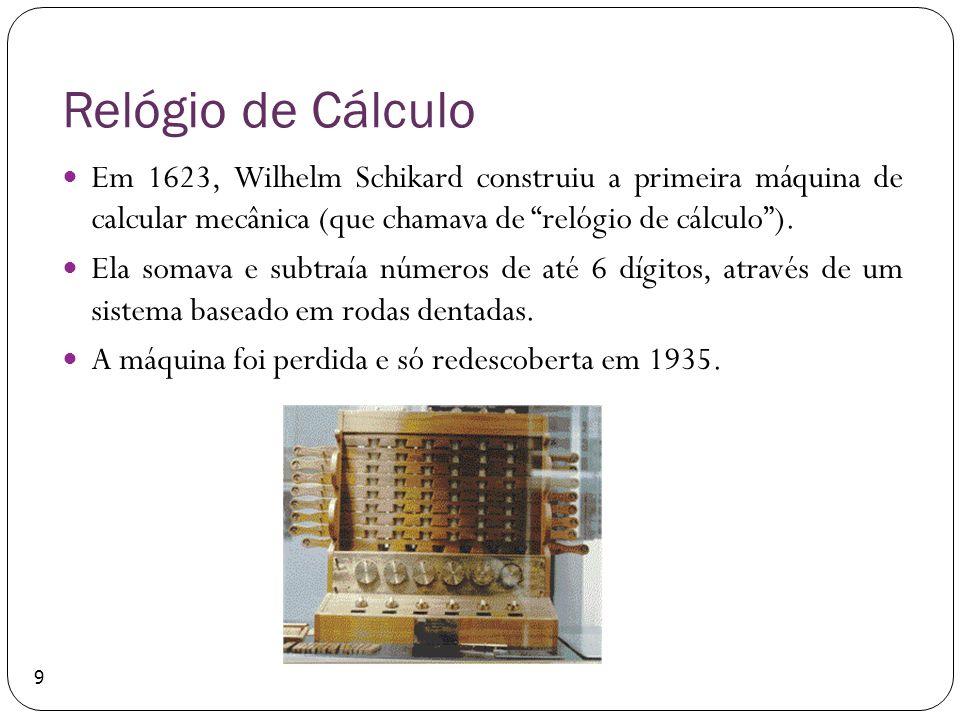 Relógio de Cálculo Em 1623, Wilhelm Schikard construiu a primeira máquina de calcular mecânica (que chamava de relógio de cálculo ).