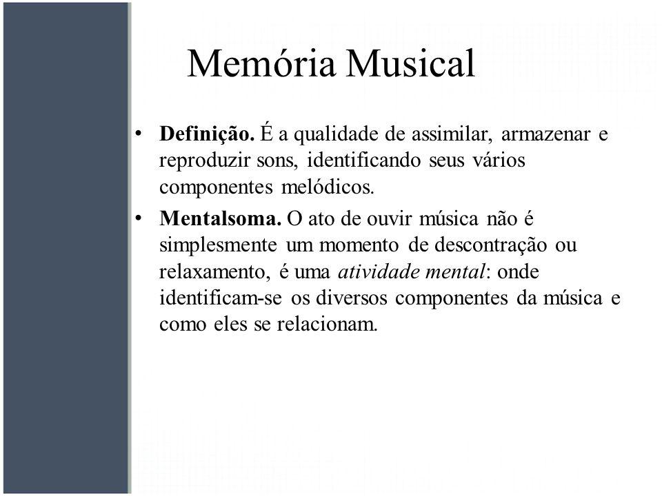 Memória Musical Definição. É a qualidade de assimilar, armazenar e reproduzir sons, identificando seus vários componentes melódicos.