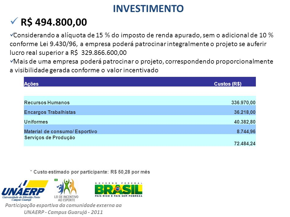 INVESTIMENTO R$ 494.800,00.