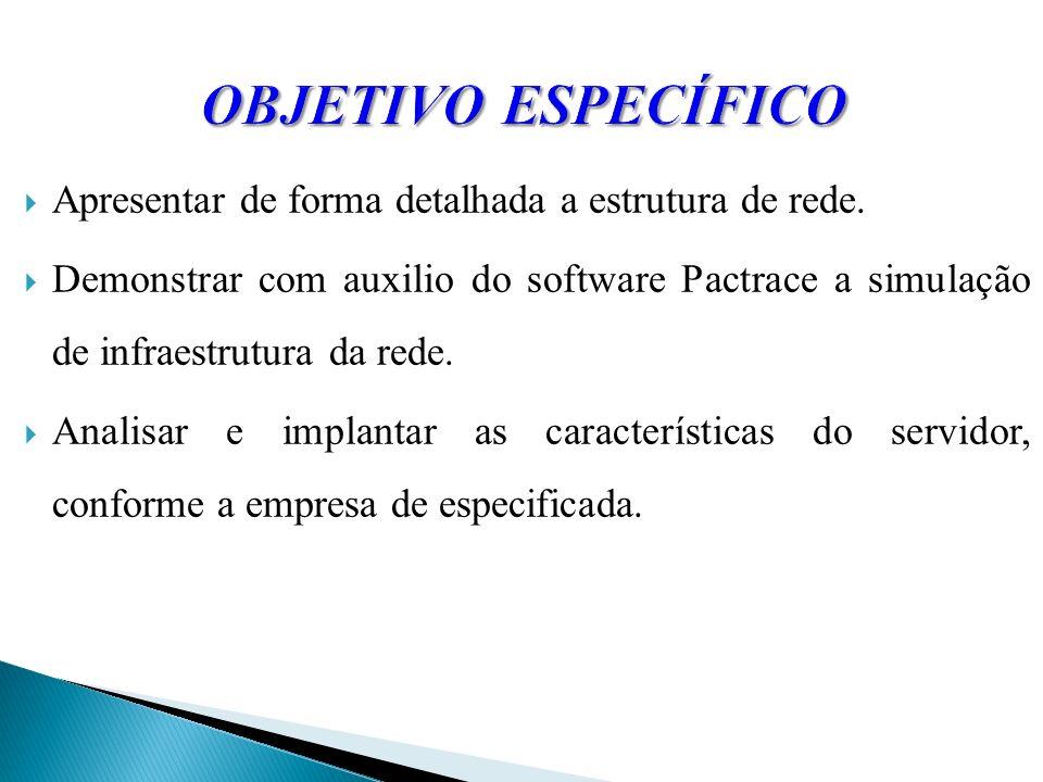 OBJETIVO ESPECÍFICO Apresentar de forma detalhada a estrutura de rede.
