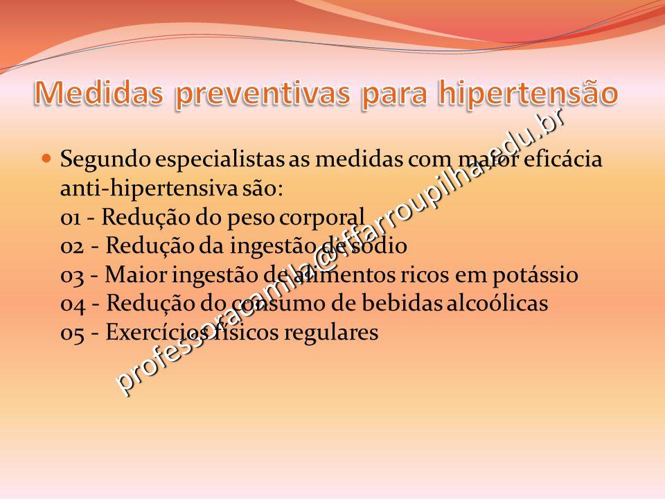 Medidas preventivas para hipertensão