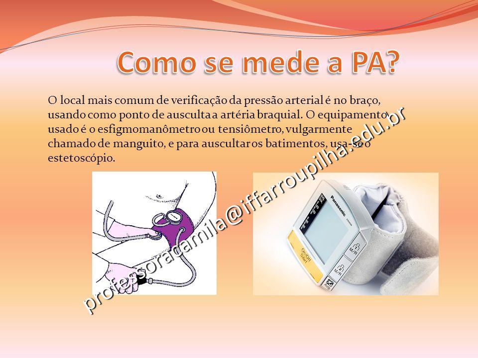 Como se mede a PA professoracamila@iffarroupilha.edu.br