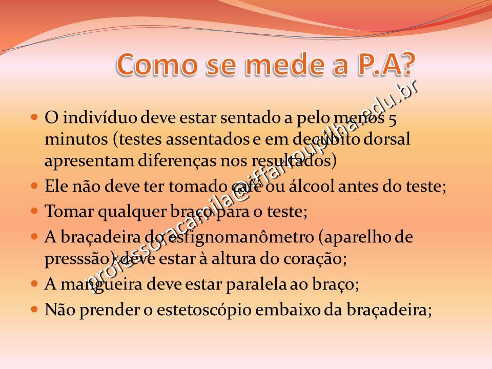 Como se mede a P.A professoracamila@iffarroupilha.edu.br