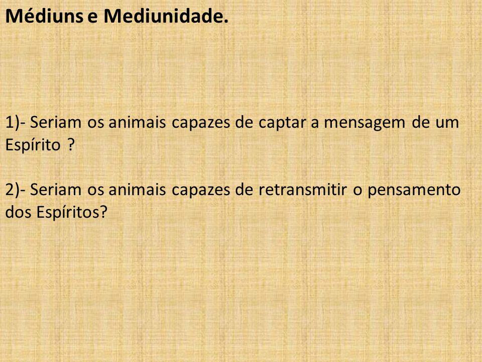 Médiuns e Mediunidade. 1)- Seriam os animais capazes de captar a mensagem de um Espírito