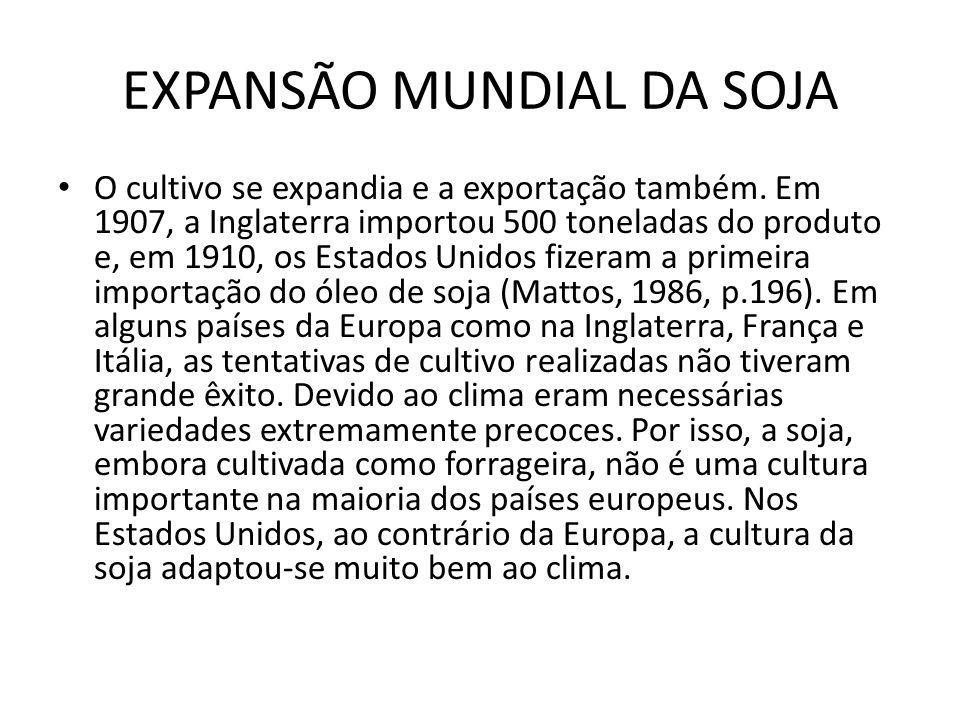 EXPANSÃO MUNDIAL DA SOJA