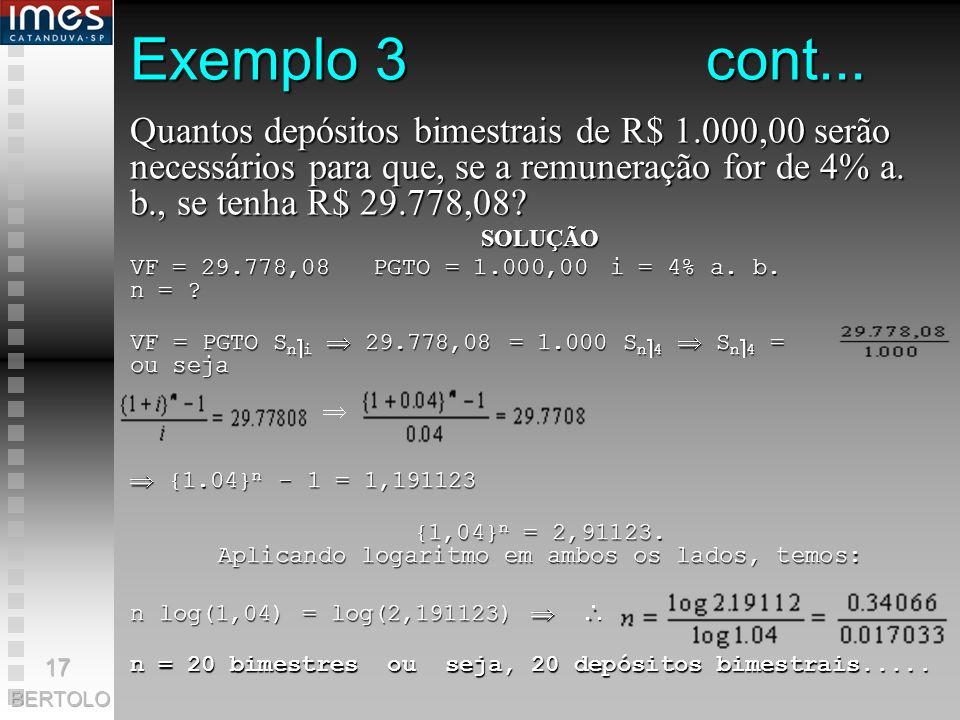 {1,04}n = 2,91123. Aplicando logaritmo em ambos os lados, temos: