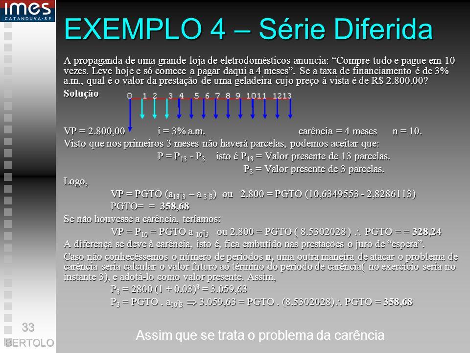 EXEMPLO 4 – Série Diferida