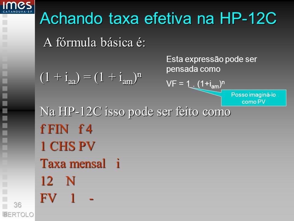 Achando taxa efetiva na HP-12C