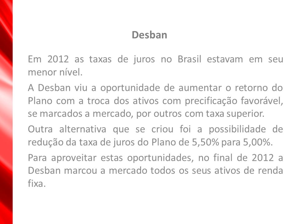 Desban Em 2012 as taxas de juros no Brasil estavam em seu menor nível.