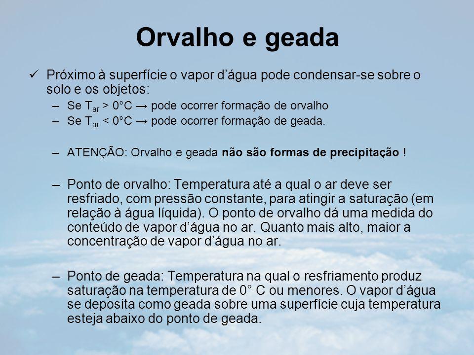 Orvalho e geada Próximo à superfície o vapor d'água pode condensar-se sobre o solo e os objetos: Se Tar > 0°C → pode ocorrer formação de orvalho.