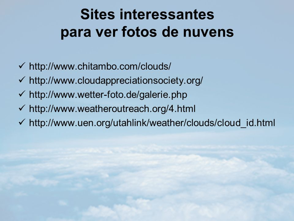 Sites interessantes para ver fotos de nuvens