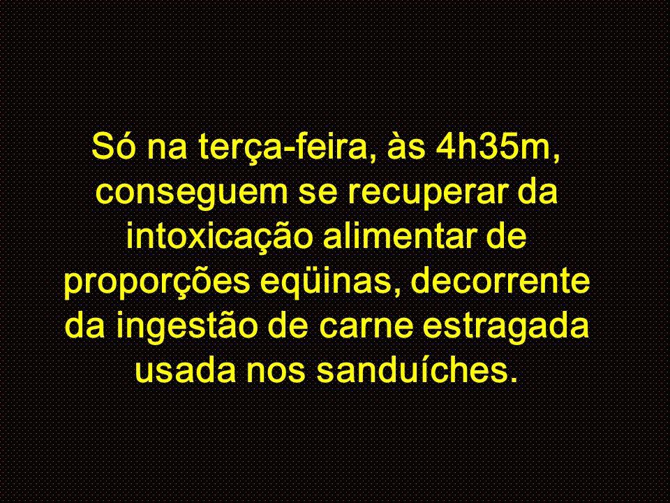 Só na terça-feira, às 4h35m, conseguem se recuperar da intoxicação alimentar de proporções eqüinas, decorrente da ingestão de carne estragada usada nos sanduíches.