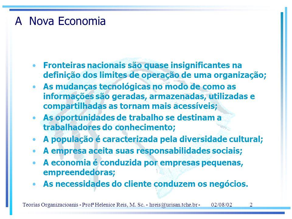 A Nova Economia Fronteiras nacionais são quase insignificantes na definição dos limites de operação de uma organização;
