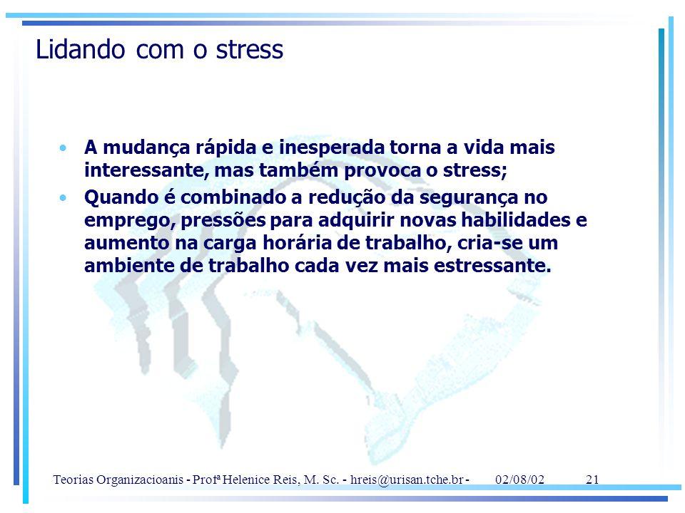 Lidando com o stress A mudança rápida e inesperada torna a vida mais interessante, mas também provoca o stress;