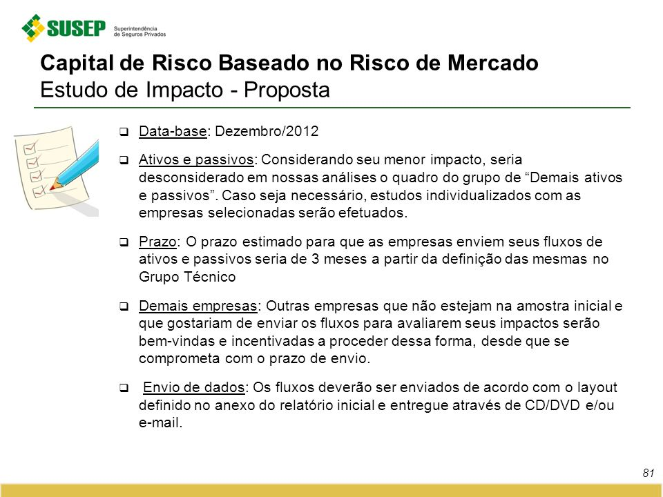Capital de Risco Baseado no Risco de Mercado Estudo de Impacto - Proposta