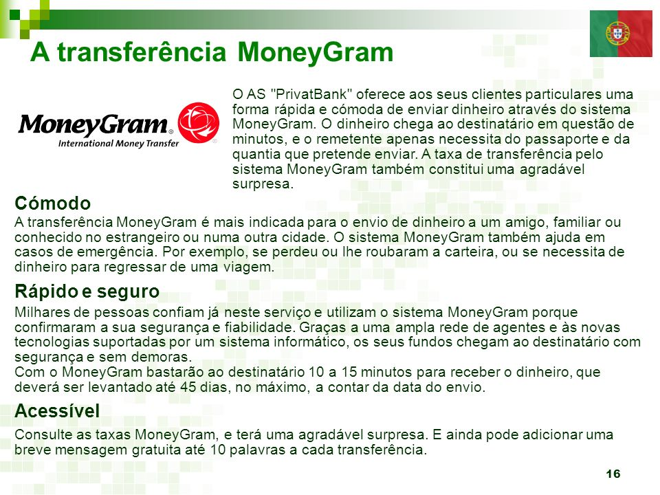 A transferência MoneyGram