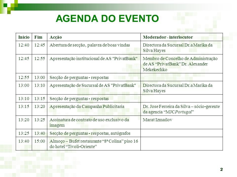 AGENDA DO EVENTO Inicio Fim Acção Moderador - interlocutor 12:40 12:45