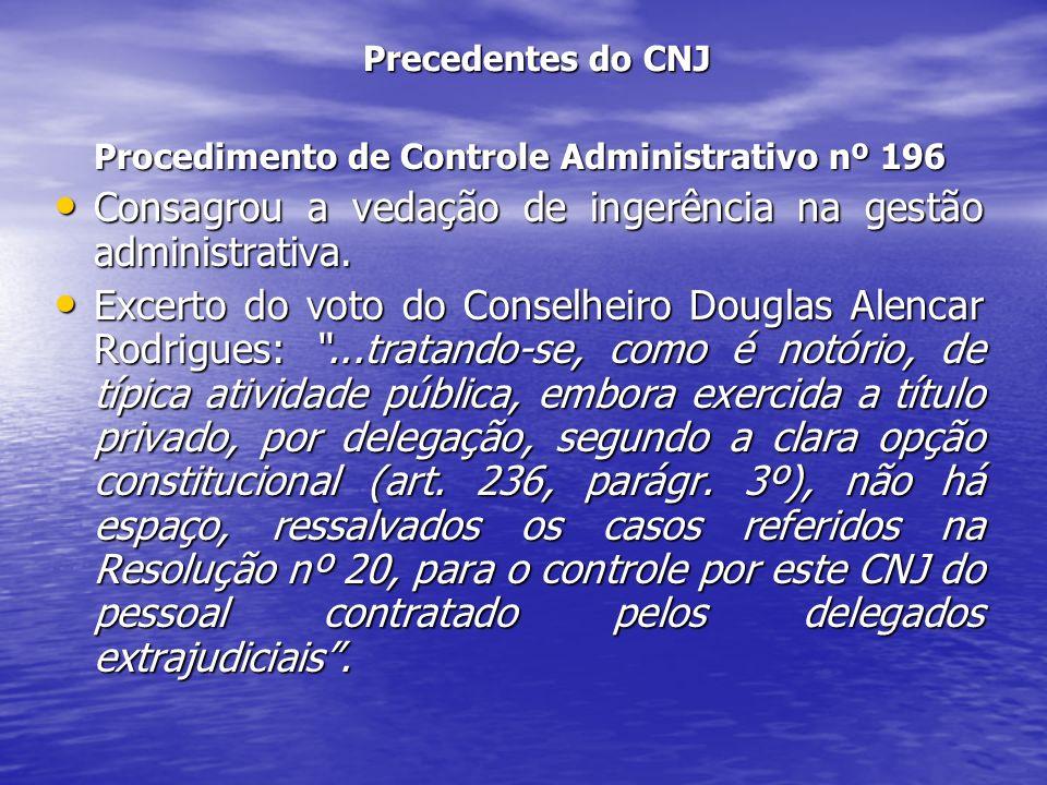 Consagrou a vedação de ingerência na gestão administrativa.