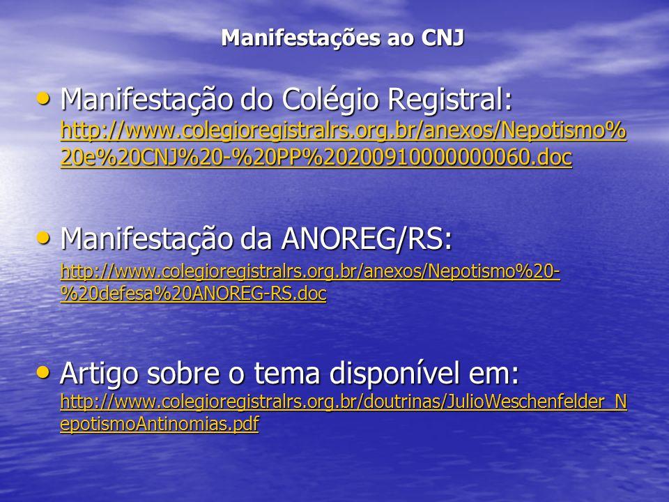 Manifestação da ANOREG/RS: