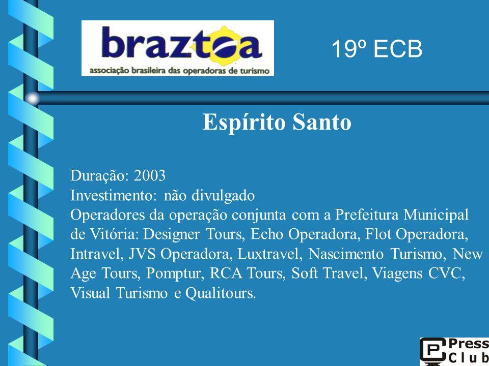 19º ECB Espírito Santo Duração: 2003 Investimento: não divulgado