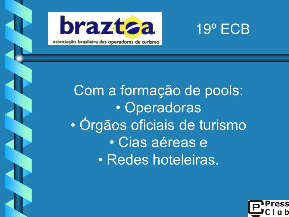 Com a formação de pools: Operadoras Órgãos oficiais de turismo