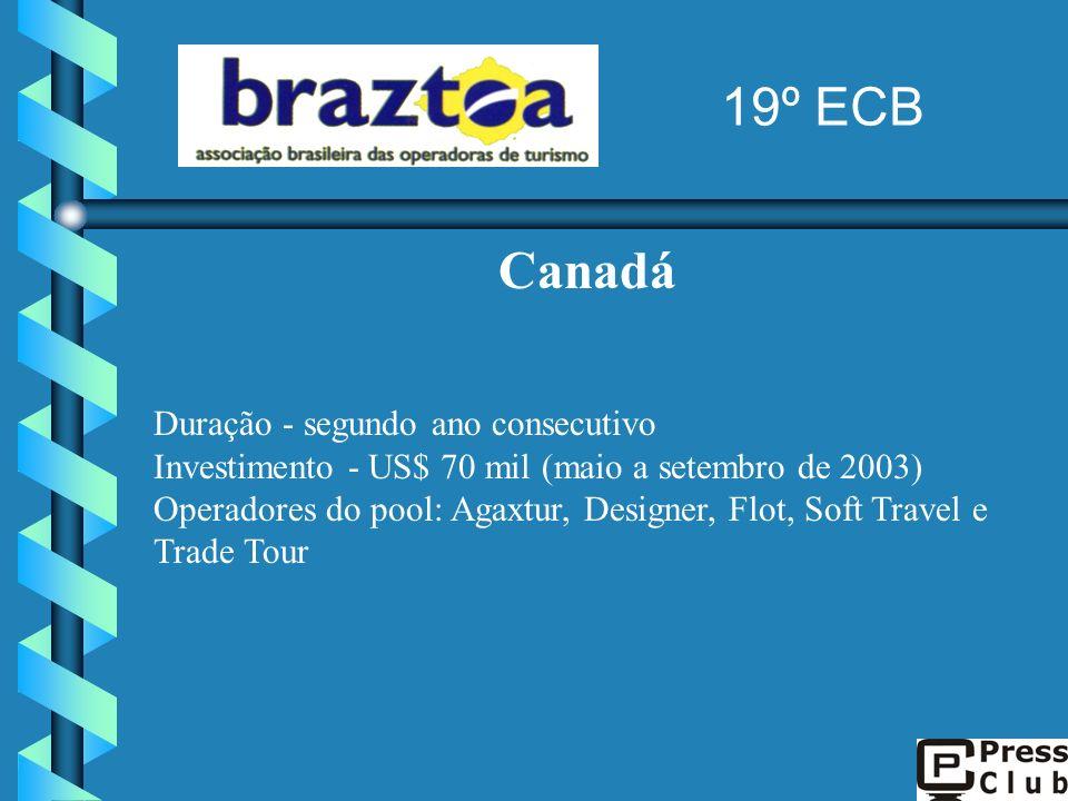 19º ECB Canadá Investimento - US$ 70 mil (maio a setembro de 2003)
