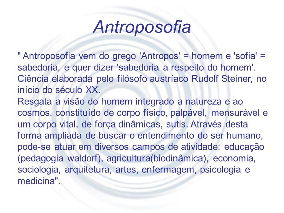 Antroposofia Antroposofia vem do grego Antropos = homem e sofia = sabedoria, e quer dizer sabedoria a respeito do homem .
