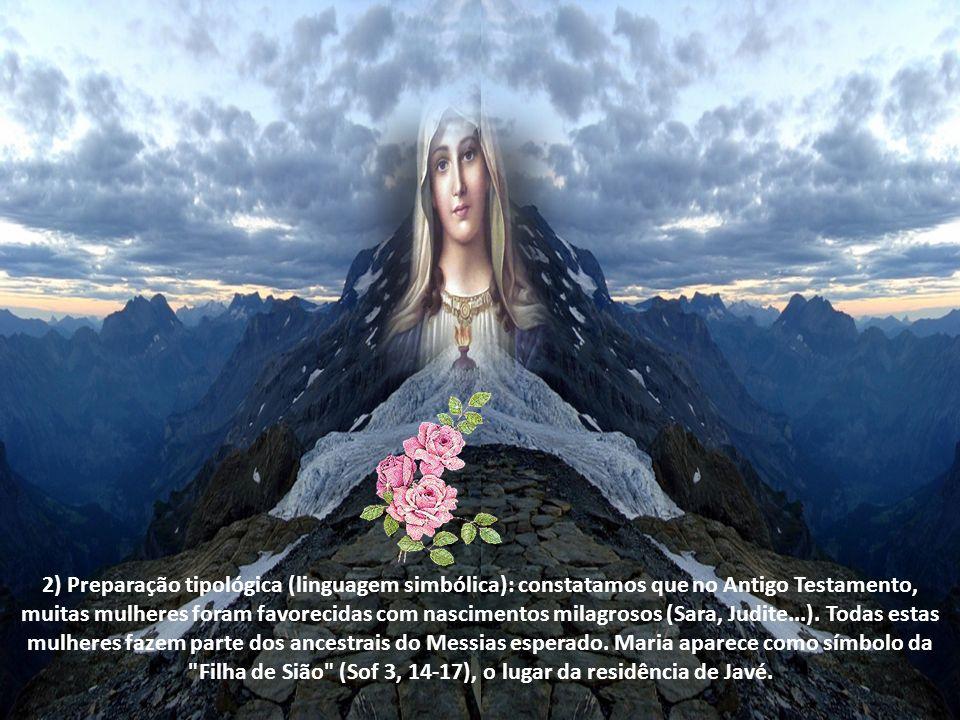 2) Preparação tipológica (linguagem simbólica): constatamos que no Antigo Testamento, muitas mulheres foram favorecidas com nascimentos milagrosos (Sara, Judite...).
