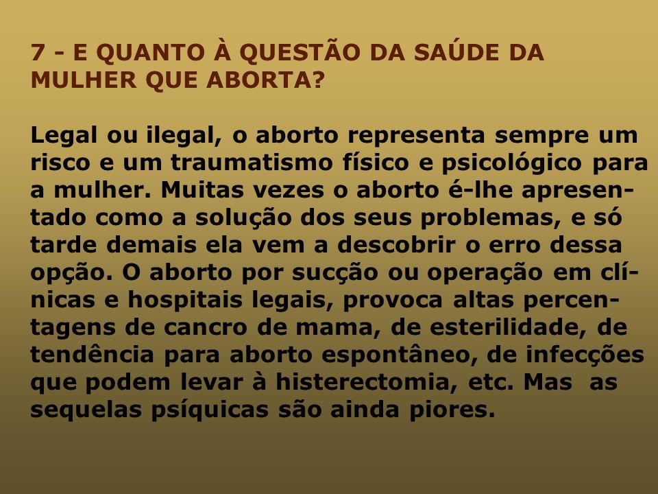 7 - E QUANTO À QUESTÃO DA SAÚDE DA MULHER QUE ABORTA
