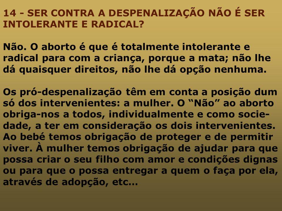 14 - SER CONTRA A DESPENALIZAÇÃO NÃO É SER INTOLERANTE E RADICAL. Não