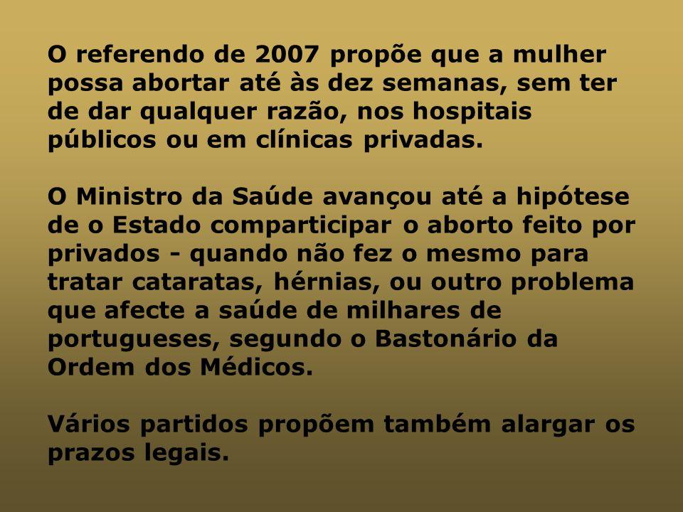 O referendo de 2007 propõe que a mulher possa abortar até às dez semanas, sem ter de dar qualquer razão, nos hospitais públicos ou em clínicas privadas.