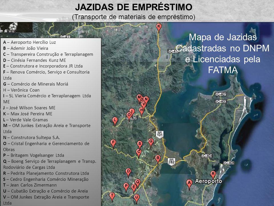 Mapa de Jazidas Cadastradas no DNPM e Licenciadas pela FATMA